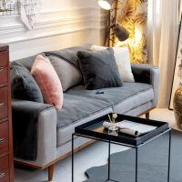 皮草沙发垫兔毛柔软皮沙发坐垫定制贵妃沙发巾盖保暖透气 獭兔毛 灰色