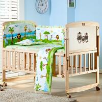 婴儿床实木无漆新生儿摇摇床多功能欧式宝宝床摇篮床 动物世界