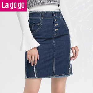 Lagogo/拉谷谷2018年春季新款时尚纽扣口袋牛仔半裙