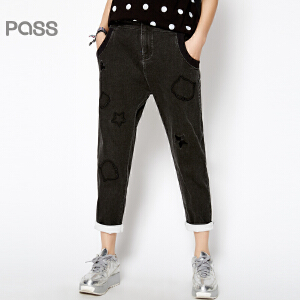 PASS原创潮牌春装新款 潮流牛仔布多口袋纯色简约百搭休闲裤女6611932026