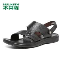 木林森男鞋 2018夏季新款头层牛皮两用休闲沙滩鞋 05287714