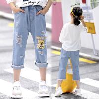 女童裤子七分裤夏薄款儿童破洞牛仔短裤新款中大童女孩中裤潮
