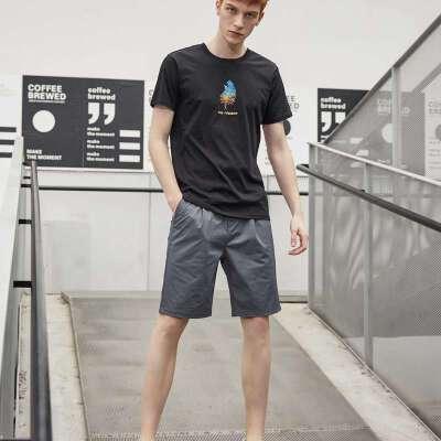 美特斯邦威短袖t恤男2019夏季新款青少年印花白色t恤男半截袖体恤