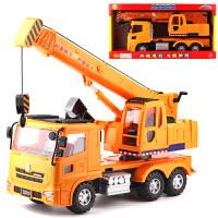 惯性车工程车铲车清扫车钩机垃圾车洒水车邮政车挖掘机玩具车 黄色 大型吊车