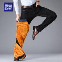 【3折到手价:126】罗蒙牛仔裤韩版潮流修身休闲直筒裤秋冬新款加绒厚款男长裤子