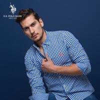 U.S. POLO ASSN.长袖衬衫男韩版美式休闲衬衫修身格子衬衣2018新款