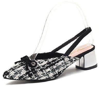 WARORWAR新品YN9-1330夏季欧美粗跟尖头女鞋潮流时尚潮鞋百搭潮牌凉鞋女