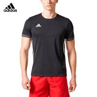 阿迪达斯adidas羽毛球服2018新款男运动跑步休闲短袖T恤