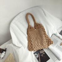 棉绳编织镂空单肩手提包包大容量沙滩包鱼网包卡其色百搭学生书包