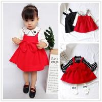 秋冬厚款 大蝴蝶结毛呢背心裙 0-1-2-3-4岁女童宝宝公主红色礼服