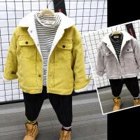 童装冬装童装韩版羊羔绒上衣男童女童灯芯绒加绒外套潮B8-T33