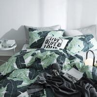 ins北欧网红植物全棉四件套简约芭蕉叶子纯棉床上用品1.2米三件套