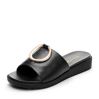 Teenmix/天美意夏专柜同款牛皮几何大扣舒适平跟女凉拖鞋AP491BT7