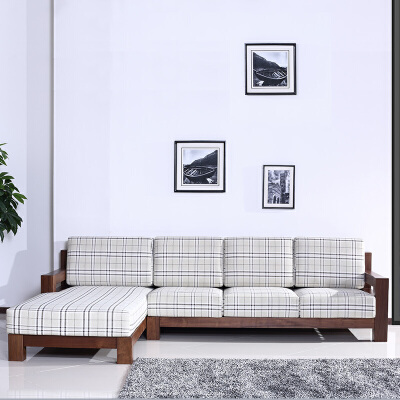 北欧篱笆纯北美黑胡桃木沙发实木沙发组合布艺沙发 中式现代简约