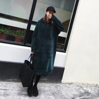 金丝绒长款套头卫衣女秋冬宽松显瘦200斤胖mm加厚长袖连帽连衣裙