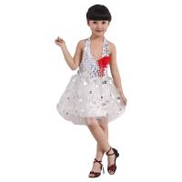 六一儿童演出服女蓬蓬裙舞蹈服幼儿园表演服少儿公主裙拉丁裙亮片 白色 镭射白色