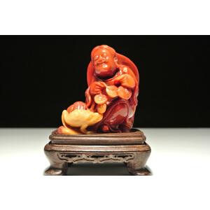 寿山巧色蜡烛红芙蓉石【刘海戏金蟾】摆件