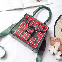 包包女包韩版时尚小方包斜挎包女小包单肩包手提包潮 墨绿色