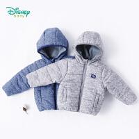 迪士尼Disney男童连帽夹棉外套冬季加厚保暖外出服宝宝前开连帽上衣184S1022