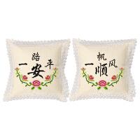 印花十字绣抱枕新款简约客厅一路平安汽车车枕一对靠垫