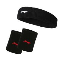 李宁LI-NING 组合套装男女健身透气吸汗运动护腕头带发带护具AQAH(198-1两只+364-1单只) 均码