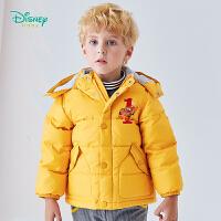 【2件3折到手价:150】迪士尼Disney童装 男童可拆卸带帽羽绒服冬季新品汽车卡通印花外服儿童厚外套194S128