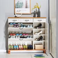 门口超薄翻斗鞋柜简约现代门厅柜17cm多功能大容量家用鞋架实木色