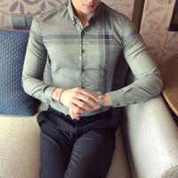2018秋季新款白色男士衬衣韩版潮流帅气青年发型师加绒衬衫男