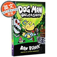 神探狗狗的冒险2 英文原版 Dog Man Unleashed 儿童幽默漫画桥梁章节书 内裤超人作者Dav Pilke
