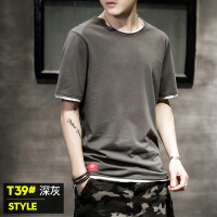 男短袖t恤夏季韩版潮流假两件上衣2018新款宽松纯棉圆领半袖体恤