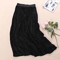 垂顺柔滑春夏女士雪纺百褶裙潮搭半身长裙黑色度假沙滩裙 WD117