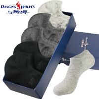 与狼共舞袜子男士短袜船袜夏季薄款纯棉吸汗透气运动棉袜四季短筒袜