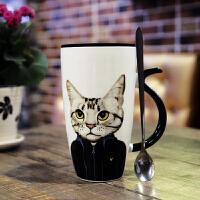 可爱马克杯创意大容量陶瓷杯带盖勺子办公室喝水杯咖啡杯家用杯子