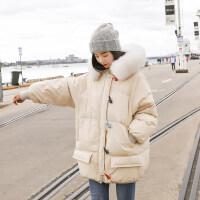 女2018新款冬装棉衣外套短款学生百搭时尚宽松轻薄ins面包服 浅驼色 S