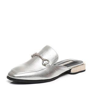 Belle/百丽春季专柜同款油皮绵羊皮革后空女皮凉拖鞋BNUA2AH7