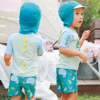 儿童分体泳衣 男童泳裤 恐龙宝宝婴幼儿沙滩度假温泉泳装防晒服配 17061恐龙配帽