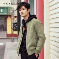 MECITY男装2019春夏新款棒球领外套飞行员绿色夹克休闲时尚
