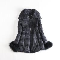 冬装女中长款羽绒服 可脱卸真毛圈修身腰带韩版保暖外套43B