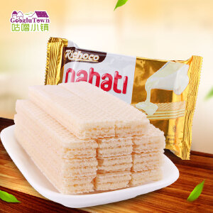 【促销】丽巧克纳宝帝香草牛奶味威化饼58g*10包印尼进口nabati威化夹心饼干