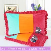 春秋季保暖枕套法兰绒幼儿园金丝绒枕芯套水晶绒枕头套一对拍2