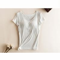 春夏季莫代尔免文胸带胸垫罩杯一体半袖女士短袖T恤背心瑜伽服