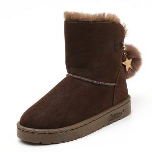 WARORWAR新品YM151-R1166冬季欧美磨砂反绒平底舒适女士雪地靴