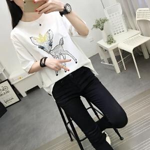 夏季2018新款女装韩版学生白色打底衫短袖女体恤宽松百搭T恤上衣