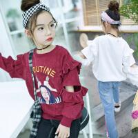 女童童装春装新款韩版中大童时尚印花打底衫卫衣t恤上衣