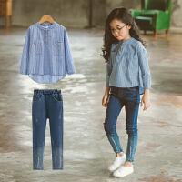 中大童装女童春装套装新款韩版潮衣洋气儿童时尚牛仔裤两件套