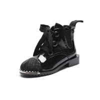 漆皮短靴女冬秋2018新款粗跟百搭加绒靴子女韩版铆钉英伦风马丁靴 黑色