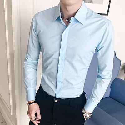 男装新款时尚男士修身休闲长袖衬衫韩版纯色衬衣男款衫衣