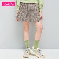 【3件3折券后预估价:63】笛莎童装女童裙子2021春季新款中大童儿童小女孩洋气格纹半身裙