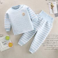 儿童三层保暖夹棉高腰护肚裤内衣套装1宝宝加厚加绒2婴儿冬季衣服