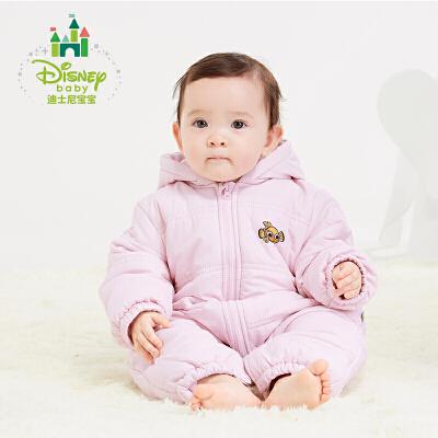 【秒杀价:59.9】迪士尼Disney婴儿连体衣秋冬新款保暖加厚夹棉外出服男女宝宝爬服154L669 连帽设计,防风御寒